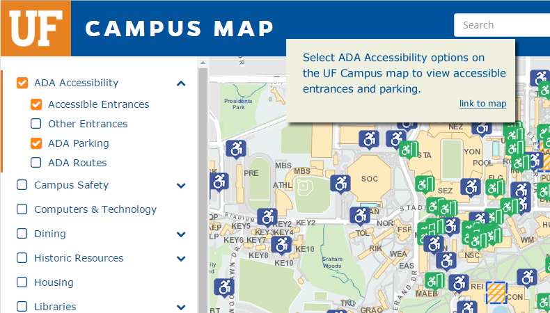 Select ADA Accessibility options on the UF Campus map to view accessible entrances and parking. (link to map)