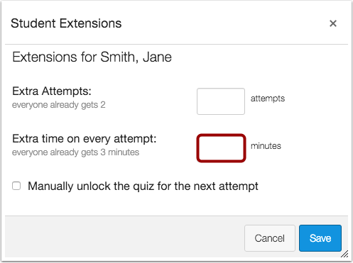 In the section Student Extensions, enter a value in minutes next to the label