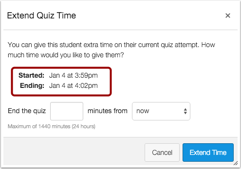 Canvas shows start and end times of quiz