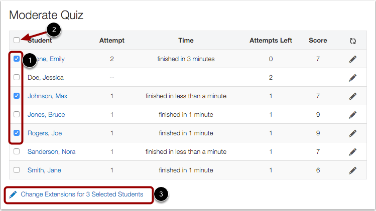 To select multiple students, check the checkbox at the far left of the row and click