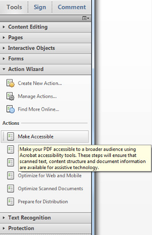 Under Tools, Action Wizard, Actions, select Make Accessible