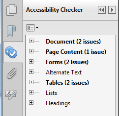 The Accessibility Checker will display found issues in the sidebar.