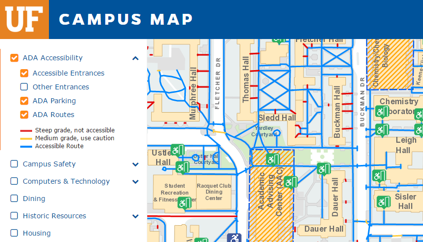 University Of Florida Location Map.Getting Around Accessibility At Uf