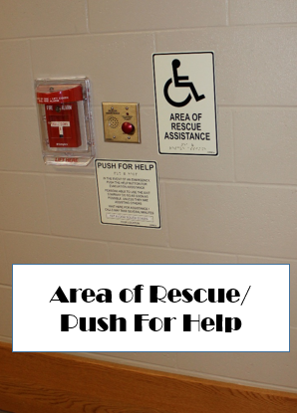 Area of rescue/push for help located at each upper stairwell