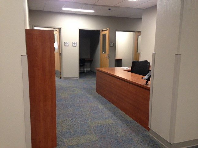 Disability Resource Center expansion - front desk to the testing area